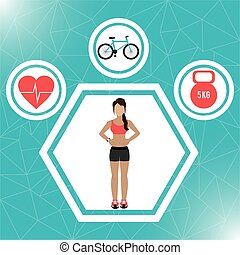 Fitness lifestyle and gym routine graphic design, vector...