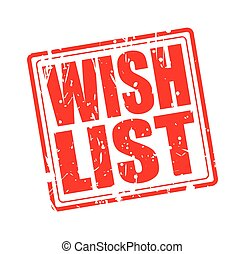 WISH LIST red stamp text on white