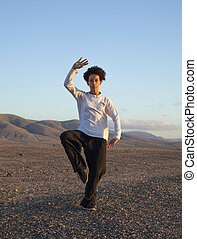 Tai chi at sunset - young woman performs tai chi moves at...