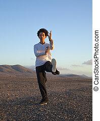Tai chi at sunset - young woman performs tai chi moves at...