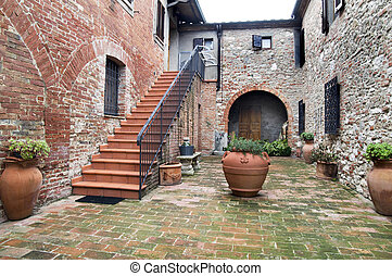 Courtyard of tuscan agritourism - Inner yard of an old...