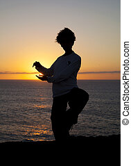 Tai chi at sunset - young woman performs tai chi moves...
