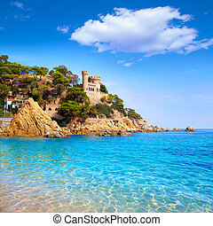 Lloret de Mar Castell Plaja at Sa Caleta beach in costa...