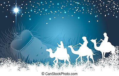Wisemen with baby jesus background - Three wisemen on their...