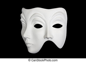 Double face white mask isolated over black background 3/4...