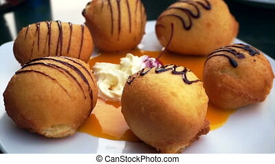 fried ice cream balls sweet dessert - fried ice cream balls,...