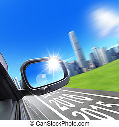 Lets go new year 2016 - Drive to city, car and rear view...