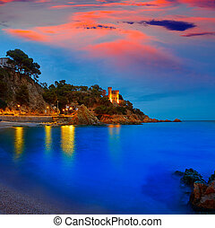 Lloret de Mar sunset at Costa Brava Catalonia - Lloret de...