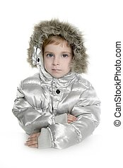 silver fur hood winter coat little girl portrait white...