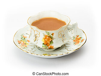 Tea served in an antique bone china cup - English tea served...