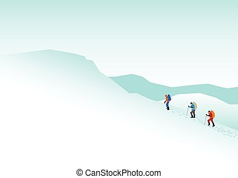 Mountain Hiking - Simple graphic of people hiking on snowy...