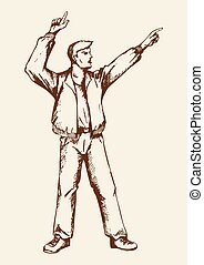 Hooray - Sketch of a person doing hands up, pointing fingers
