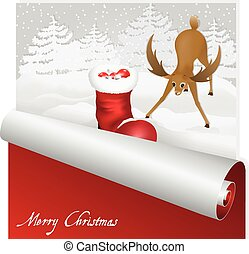 Christmas card with sweet deer looking at santas boot in the snowy forest background.