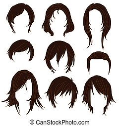 Hair styling for woman drawing Brown Set 2