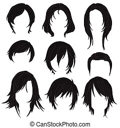 Hair styling for woman drawing Black Set 2