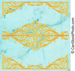 Ornament elements, vintage gold floral designs on a marble...