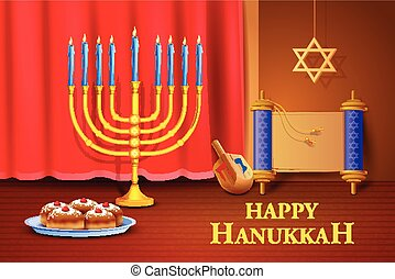 Israel festival Happy Hanukkah background - vector...