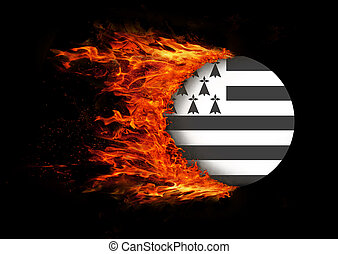 Flag with a trail of fire - Brittany