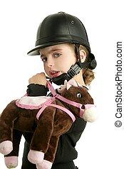 equitación, gorra, poco, niña, Abrazo,...