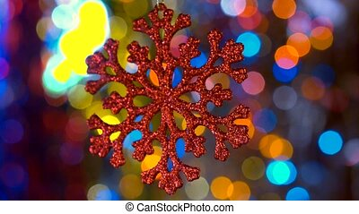 New Year decoration toy with bokeh new year tree lights...