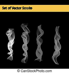 Set of cigarette smoke - Set of abstract vector transparent...