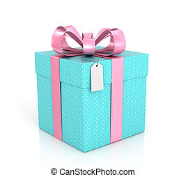Blue gift with red ribbon, bow and tag on a white background...