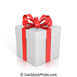 White gift with red ribbon and bow on a white background