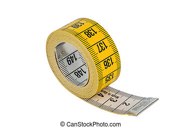yellow tape measure, symbol photo for diet control and...