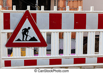 on the site - protection of the road at a construction site....
