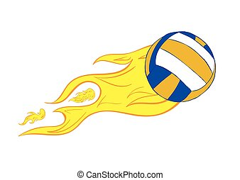 Volleyball with a flame