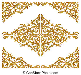 Ornament elements, vintage gold floral designs