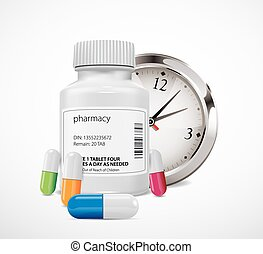 Pharmacy bottle and pill time