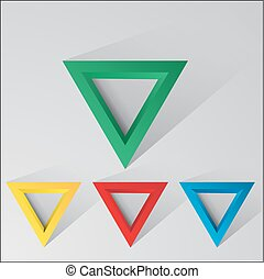 Set of abstract triangles with shadow and light background...