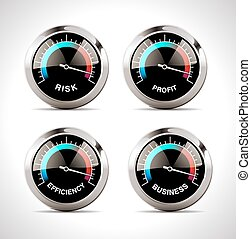 Speedometer concept - risk, profit, business and efficiency