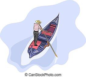 Vector. Gondolier in a gondola.