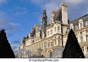 The Hotel de Ville in Paris - The Hotel de Ville city hall...