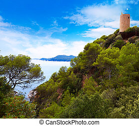 Sant Joan castle in Lloret de Mar at Costa Brava of...