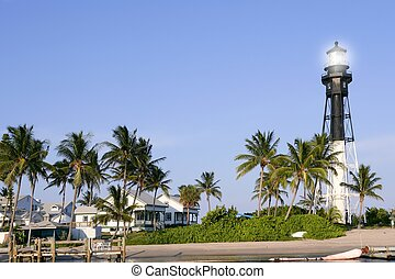 Florida Pompano Beach Lighthouse palm trees