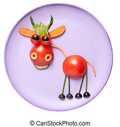 toro, hecho, de, vegetales, en, rosa, placa,