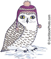 Colorful white owl in purple hat with pompon. - Isolated owl...