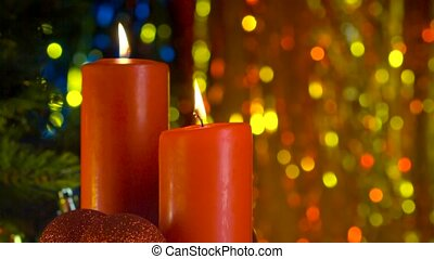 Christmas scene of burning red candles