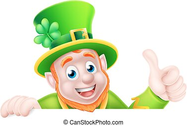 Cartoon Leprechaun Peeking Over Sign - Leprechaun cartoon St...