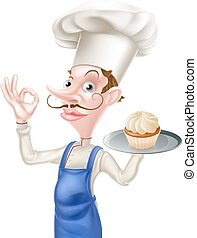 Cake Baker Perfect Sign - An illustration of a cartoon chef...