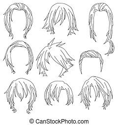 Hair styling for woman drawing Set 3. illustration isolated...