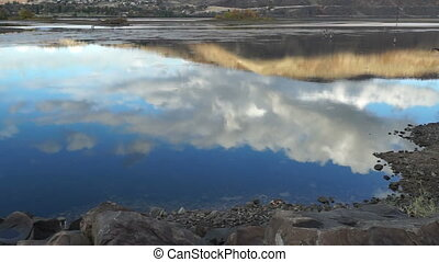 Smooth Slow Moving Columbia River Blue Sky White Clouds -...