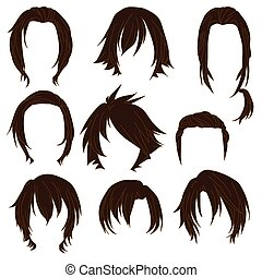 Hair styling for woman drawing Brown Set 3. illustration...
