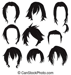Hair styling for woman drawing Black Set 3 illustration...