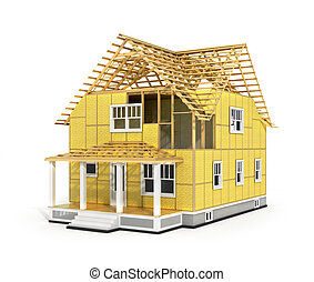 3d render of house in construction process. We see...