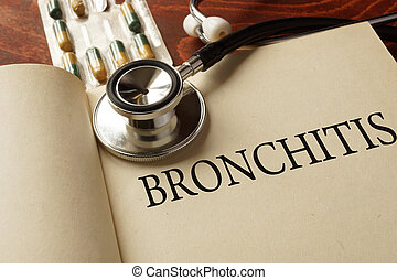 bronchitis - Book with diagnosis bronchitis Medic concept...