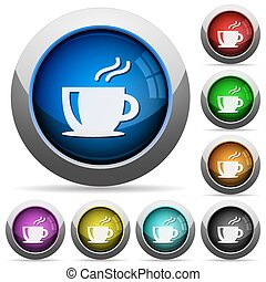 Coffee button set - Set of round glossy coffee buttons...